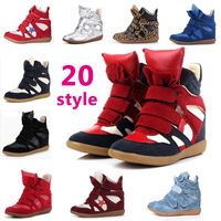 Wholesale 2014 Hot Isabel Marant Leather Women Shoes Boots Height Increasing Sneakers Shoes Brand Free shipping Size 35~41