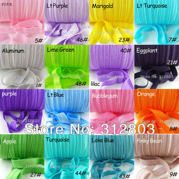 91 Colors!!!  10 YARDS/COLOR  Fold Over Elastic 5/8 inch FOE - YOU CHOOSE Colors-Shiny for elastic Headbands Hair Ties