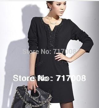 2014 New arrival brand fashion spring autumn plus size women clothing casual dress one-piece slim black dress 2xl,3xl,xxxxl.5xl