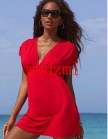 1pc free shipping Women's Sexy Deep V-neck Plunge Women's Beach kaftan fashion dressCover-Ups sexy swimwear women beachwear