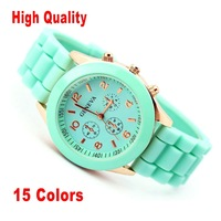 High Quality 15colors Popular Silicone Quartz Men Women Girl Unisex Jelly Wrist Watch Geneva, Xmas gift  Drop & Free ship