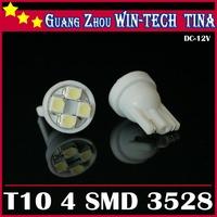 Free Shipping 50pcs T10 194 168 192 White/Blue Color 4 SMD 3528 LED car light bulb Wedge car light