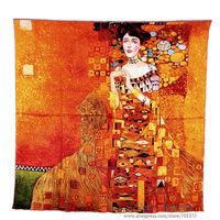 "100% Pure Silk Scarf Gustav Klimt's ""Donna Con Ventaglio"" aka ""Adele Bloch-Bauer I"" 90*90cm Square Painting Shawl For Women"