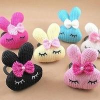 Free shipping T009 Bow wool rabbit hair ring headwear children headdress hair accessories hair band wholesale