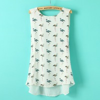 Casual O-Neck Fashionable Flamingo Print Sleeveless Chiffon Blouse    K40