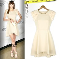 2013 Fashion Casual White Dresses O-Neck Knee-Length Chiffon Mini Dresses Items