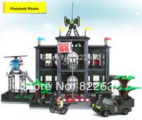 Enlighten Building Blocks Hot Toy Police Headquarters Construction Sets Educational Bricks Toys for Children Compatible Gift