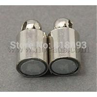 Stock Deals Brss Magnetic Clasps,  Column,  Platinum Color,  Size: about 18mm long,  5mm wide,  hole: 1.2mm