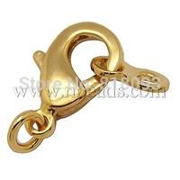 Brass Lobster Claw Clasps,  Golden,  10x24x4mm