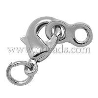 Stock Deals Brass Lobster Claw Clasps,  Platinum Color,  Size: about 7mm wide,  22mm long,  3mm thick,  hole: 2~3mm