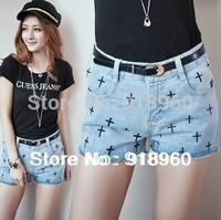 Newest Sale Fashion Women's Shorts Jeans/Sexy Slim Ladies' Denim Short pants/Casual Low Waist embroider cross Trousers/WtQ