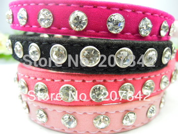 Wholesale Rhinestone Cat Collar Personalized Crystal Studded Retractable Velvet Pet Supplies
