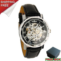 2013 New Winner Skeleton fashion brand face mens military Mechanical Black PU Leather Watch Xmas Gift
