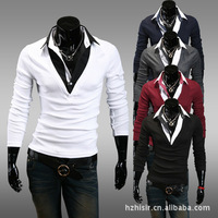 polo tees new men's POLO shirts fake two casual long-sleeved polos sexy Slim Figure grey white red hot sale M L XL XXL 8011