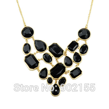 Hot Sale Bisuteria Luxury Zinc Alloy and Black Rhinestone Water Drop Collar Necklace for Women