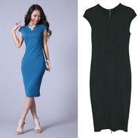 New Women v-neck Cocktail Party dress short Sleeve OL zipper back Pencil Business Knee-Length Dress D0038