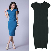 New Women v-neck Cocktail Party dress short Sleeve OL zipper back Pencil Dress D0038