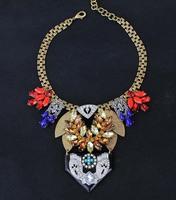 Luxury Spade Vintage Iridescent semi-precious stone pendant Short Statement bib Collar Choker Necklace For Women Jewelry AF944