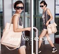 2014 Rivet Satchel Fashion Women Totes Handbag Casual Shoulder Messenger Bags Diagonal Bolsas Sac Main Black Beige Color A35