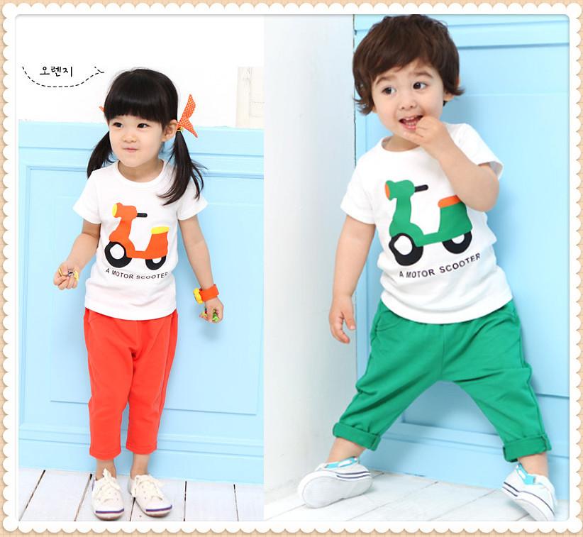 2013 Summer Cartoon A Motor Scooter Children Short Sleeve T-shirt and Haren Pants Trousers Suit for boys girls Kids 2 pcs set(China (Mainland))