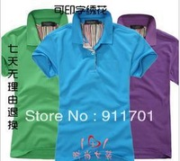 Hot short-sleeve lovers short-sleeved t-shirt solid color lapel men and women sportswear002
