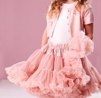 fluffy peach girls chiffon pettiskirts and tutu Dance wear Christmas Birthday gift Party skirts  Free shipping