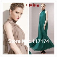free shipping Elegant slim stand collar one-piece dress formal dress bridesmaid dress