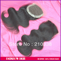 "Lace closure Peruvian virgin hair body wave natural black 8"" to 20"" DHL free shipping"