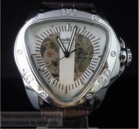 New Winner Jaragar Brand Triangle Pilot Military Watch 6hand Bezel Rotate Black Leather Strap Automatic Watches Man