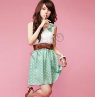 New Korean Fashion Style Polka Dot Sweet Lovely Mini Dress Orange/Green Lace Top 18