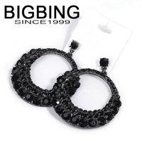 BigBing fashion   fashion jewelry black full rhinestone gem two circle female metal drop of luxury drop earring   L588