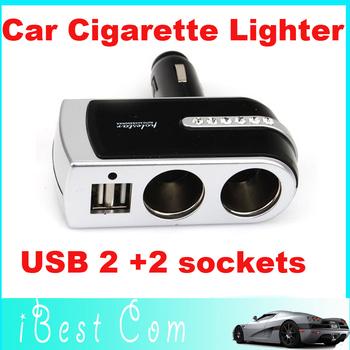 2 Sockets In Car Cigarette Lighter Splitter Charger Power Adapter Plug DC 12V 24V Double USB Port  wholesale Free  children toys
