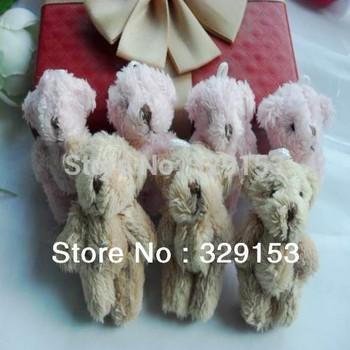 H-4.5cm lovely Mini Stuffed Jointed Bear Gift Flower Packing Teddy Bear Long wool bears 4color  100pcs/lot