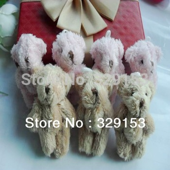 Free shipping H-4.5cm lovely Mini Stuffed Jointed Bear Gift Flower Packing Teddy Bear Long wool bears 4color  100pcs/lot