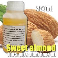 100% pure plant base oil Sweet almond oil 250ml Vitamin skin care moisturizing whitening Sensitive