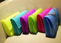New Summer multicolour color silica gel women messenger bag small jelly neon Chains shoulder bag,women beach bag crossbody bag