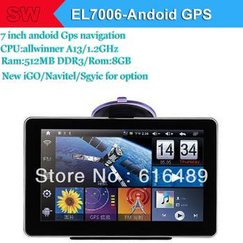 7 3th Inch GPS Navigator Android 4.04 Allwinner/A13/1.2GHz Ram:512MB/Ram:8GB+WIFI+AV-IN iGO 9 Primo/Navitel 8.0(7006)