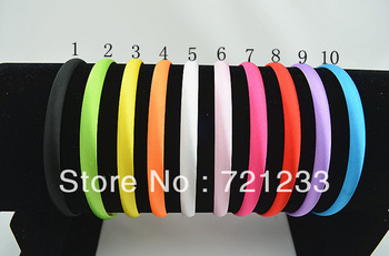 Trail order 10 colors cute Girl 10mm Satin Headbands Children Headbands hair band hair accessories 50pcs/lot Free Shipping