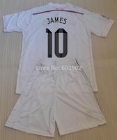 2014-2015 New Season Real Madrid Home White RONALDO #7 JAMES #10 Club Socer Jerseys With Short football Kits + can custom names