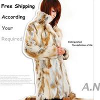 100% Genuine Fur Rabbit Women Natural Fur Coat Fur Long Winter Outerwear Coats Free Shipping 2XL 3XL Plus Size