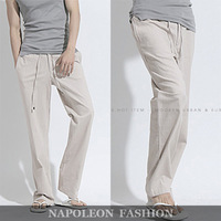 2013 Hot sale,Summer Cool Loose Straight Linen Casual Pants Men .5 Colors,Army Green.Sports Classic Brand Fashion Trousers Men