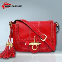 Brand New 2014 Elegant Designer Fashion Tassel Mini Women Handbag Shoulder Messenger Bags Lock Lady Cowhide Evening Bag NO1706