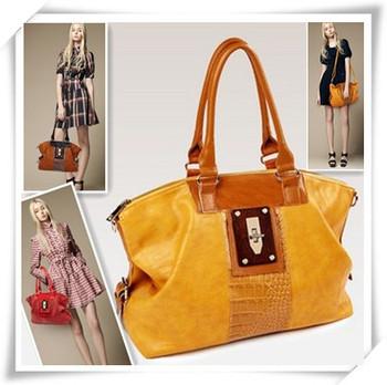 2014  Patet Leather  Design Upscale Hardware Crocodile PatternTote  Cowhide Women'sHandbag One Shoulder Cross-body  Shoulder Bag