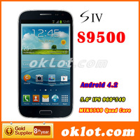Star S4 i9500 S9500 5.0 Inch IPS MT6589 Quad core 1.2GHZ 1GB RAM 12.0 MP Camera Android 4.21 os GPS Wifi 3G Cell Phone BLACK