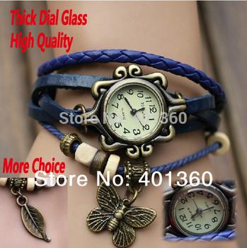Прямая поставка 6 цветов в исходном высокое качество женщины натуральная кожа винтаж часы браслет наручные часы бабочка лист
