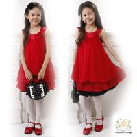 The New spot wholesale Pleated Chiffon girl wearing 3~7Age 4pcs/lot Princess Rose dress children clothing