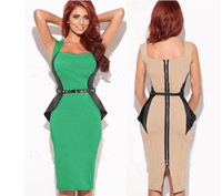 Free Shipping 2014 New Fashion Women Optical Illusion Sheath Slimming Stretch Bodycon Formal Party Pencil Cocktail Dress D0079