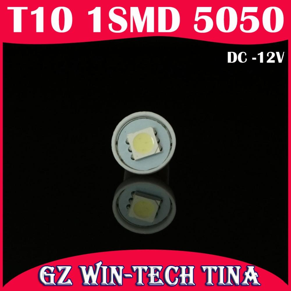 10pcs Car Light Auto LED T10 5050 1SMD Car LED light bulbs Day White(60000-7000k) 12v Free Shipping(China (Mainland))