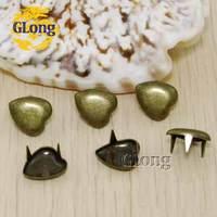 10mm Heart-Shaped Studs Antique Brass Color Punk Rock DIY Rivet Nailheads Spike Free Shipping 100pcs #GZ012-10BR
