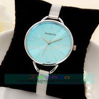 100pcs/lot Wholesale Price WOMAGE Brand Ladies Color Dial Quartz Watch Steel Braided Strap Women Dress Wristwatch 10colors